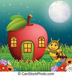 engraçado, lagarta, floresta, maçã, casa