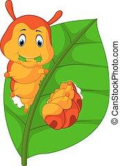 engraçado, lagarta, folha comendo