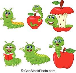 engraçado, lagarta, jogo, caricatura, cobrança