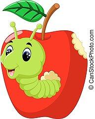 engraçado, lagartas, maçã