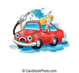engraçado, lavando, caricatura, car