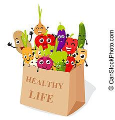 ENGRAÇADO, legumes, caricatura