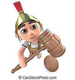 engraçado, leilão, personagem, soldado, romana, segurando, gavel, caricatura, 3d