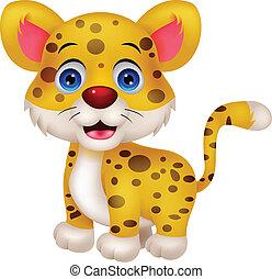 engraçado, leopardo, caricatura