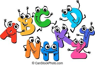 engraçado, letra, caráteres, caricatura, ilustração