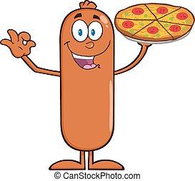 engraçado, linguiça, segurando pizza