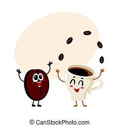 engraçado, loucos, copo, espresso, feijão café, juggling, caráteres