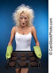 engraçado, loura, cookies., cozinhar, ter, menina, queimado,...