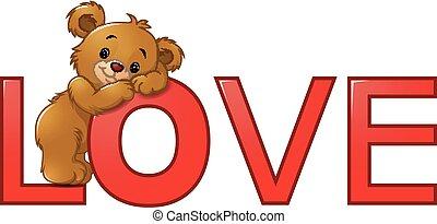 """engraçado, """"love"""", palavra, vermelho, urso"""