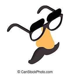 engraçado, máscara, óculos, disfarce, nariz, fraude