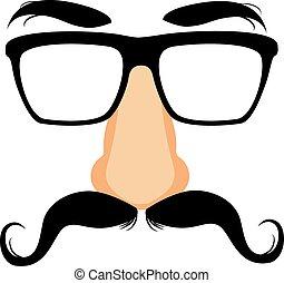 engraçado, máscara, bigode, disfarce