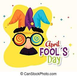 engraçado, máscara, fools, dia, bigode, óculos