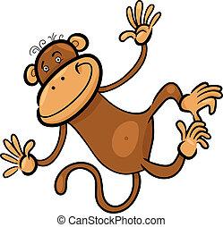 engraçado, macaco, ilustração, caricatura
