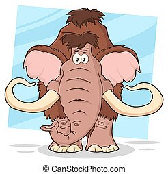 engraçado, mamute, caricatura, personagem