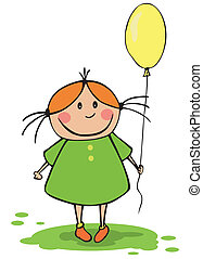 engraçado, menina, balloon
