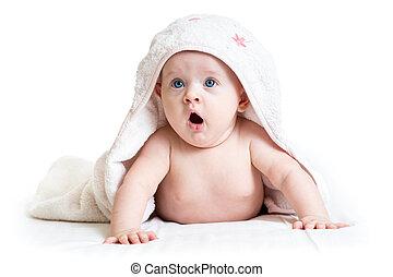 engraçado, menina bebê, em, toalha