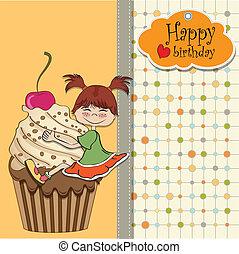 engraçado, menina, cartão aniversário