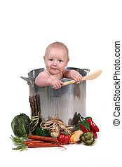 engraçado, menino bebê, em, um, cozinheiro, pote