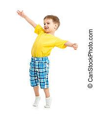 engraçado, menino, tiro., braços, isolado, estúdio, branca, abertos, criança