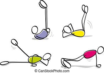 engraçado, meninos, fazendo, condicão física