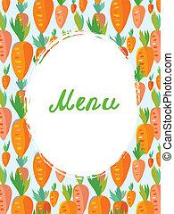engraçado, menu, vegetariano, -, cenoura, desenho, modelo, café