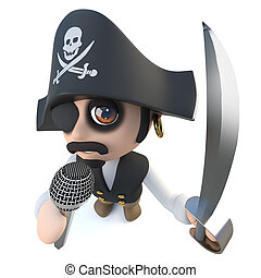 engraçado, microfone, personagem, caricatura, capitão, cantando, pirata, 3d