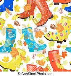 engraçado, moda, folhas, seamless, textura, inicializações borracha, outono