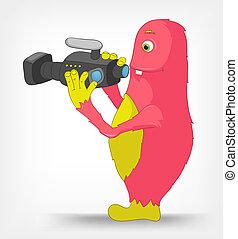 engraçado, monster., cameraman.