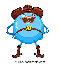 engraçado, monstro, blue-colored, luminoso, vetorial, sorrindo, redondo, caricatura