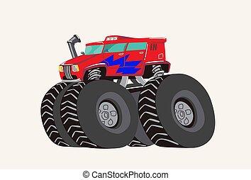 engraçado, monstro, cute, tractor., ilustração, mão, luminoso, vetorial, desenhado, truck., caricatura