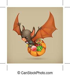 engraçado, morcego, ícone