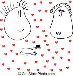 engraçado, muitos, menina, faz, corações, sujeito, caras, proposta