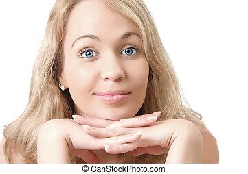 engraçado, mulher, dela, caras, jovem, isolado, experiência., inclinar-se, fazer, loiro, mãos, branca