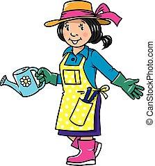 engraçado, mulher, series., gardener., profissão