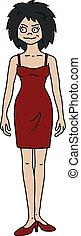 engraçado, mulher, vestido, vermelho