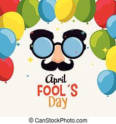engraçado, nariz, fools, dia, bigode, óculos