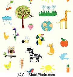 engraçado, natureza, padrão, seamless, ilustração, desenho
