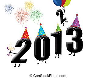 engraçado, novo, véspera, 2013, ano