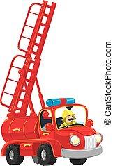 engraçado, old-styled, caminhão, vermelho