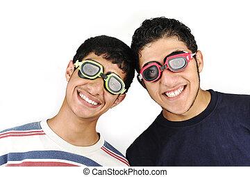 engraçado, olhos, óculos proteção, dois, adolescentes
