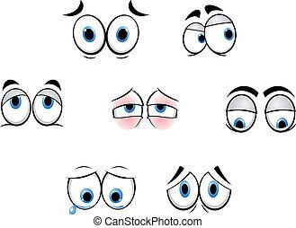 engraçado, olhos, caricatura