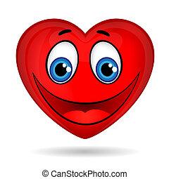 engraçado, olhos, sorrizo, coração vermelho
