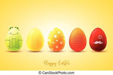 engraçado, ovos, ensolarado, fundo amarelo, páscoa