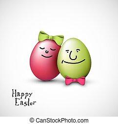engraçado, ovos, páscoa, arco