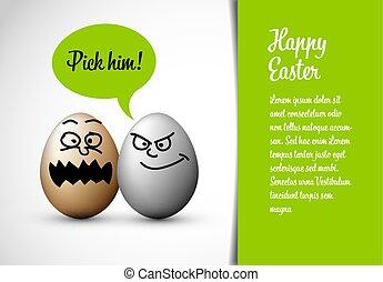 engraçado, ovos, páscoa, cartão