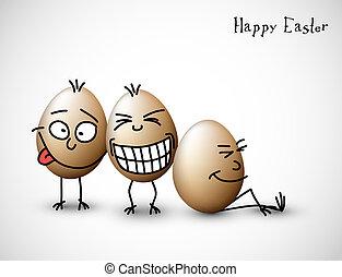 engraçado, ovos, páscoa