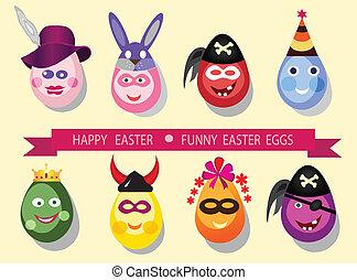 engraçado, páscoa, eggs.