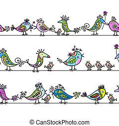 engraçado, pássaros, seamless, padrão, para, seu, desenho