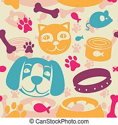 engraçado, padrão, cão, seamless, gato, luminoso