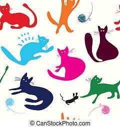 engraçado, padrão, seamless, gatos, desenho, tocando
